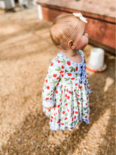Load image into Gallery viewer, Strawberry Picnic Long Sleeve Twirl Dress