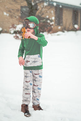 Little Explorer Collection - Long Sleeve Hoodie Pant Set - Green with Vintage Planes