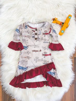 Little Explorer Collection - Long Sleeve Vintage Planes Criss-cross Gown