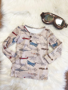 Little Explorer Collection - Long Sleeve Vintage Planes Henley Tee - Georgia's Boutique