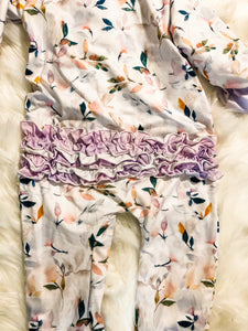 Leafy Watercolor girls layette w/pinkpurple Ruffles