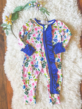 Load image into Gallery viewer, Rose Garden Layette with Blue Trim