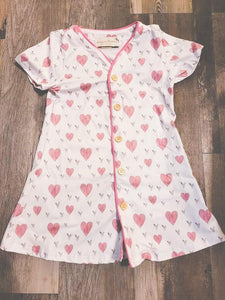 Hearts For You Collection - Short Sleeve Hearts Gown (women's and girl's) - Georgia's Boutique