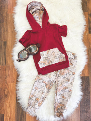 Little Explorer Collection - Short Sleeve Hoodie Pant Set - Crimson with Maps