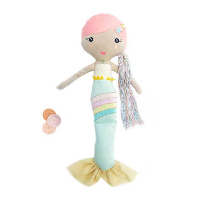 The (NEW!) Shine doll is a soft and huggable rainbow mermaid that encourages acts of kindness!