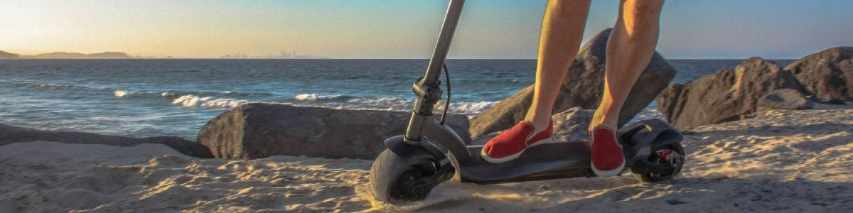 cheap electric scooter on the beach
