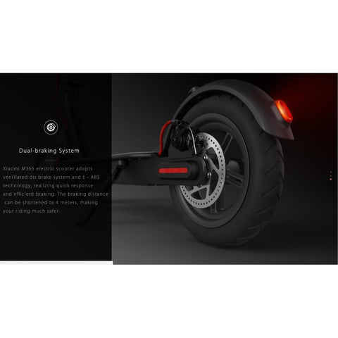 Black Xiaomi M365 Electric Scooter dual breaking system