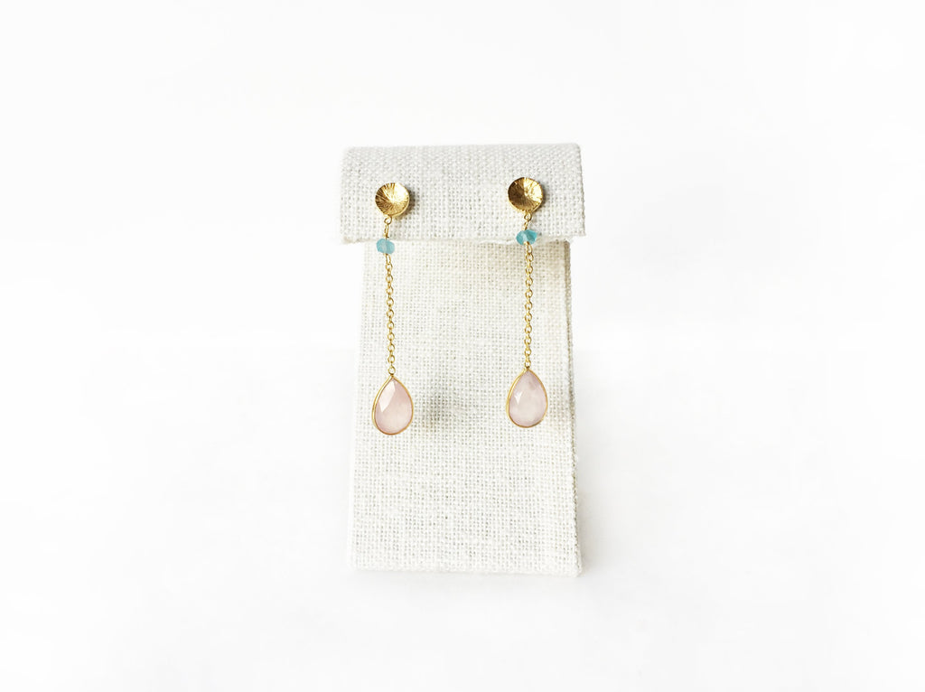 Cleo Earrings - Rose Quartz