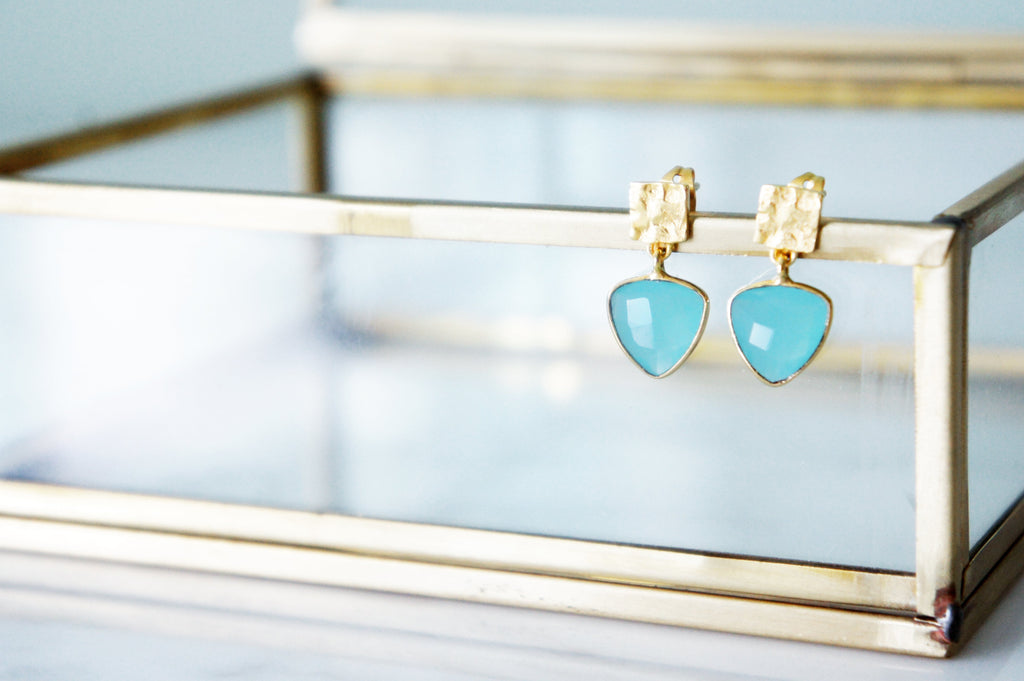 Iso Earrings - Aqua Chalcedony