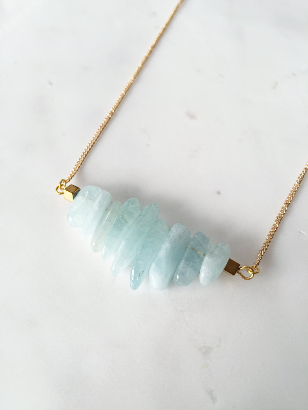 Eve Aquamarine Bar Necklace