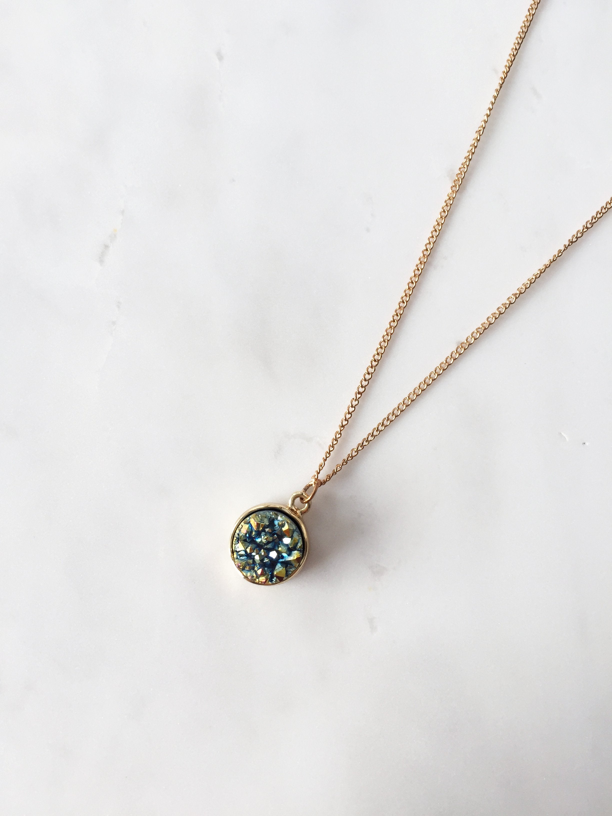 Oriel Druzy Necklace (Teal)