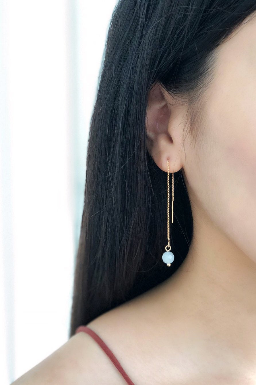 Celine Ear Threaders - Aquamarine