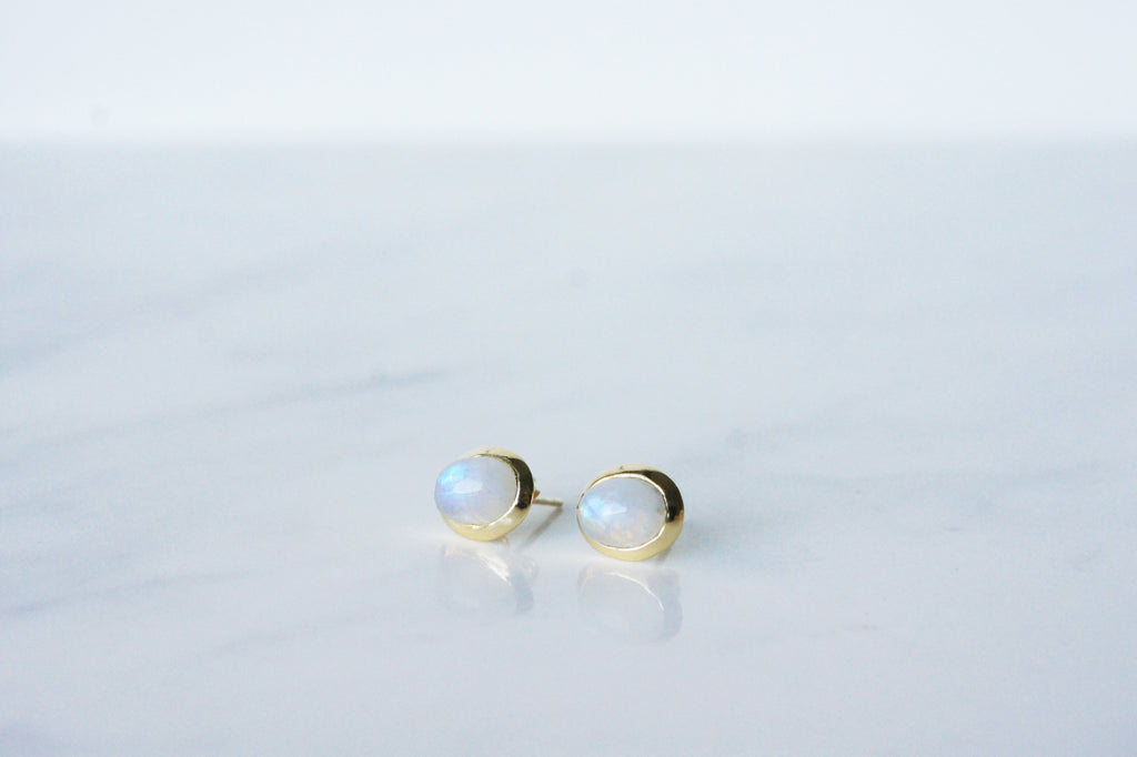 Gaia Earrings - Rainbow Moonstone