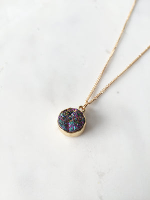 Oriel Druzy Necklace (Rainbow)