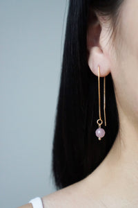 Celine Ear Threaders - Rose Quartz