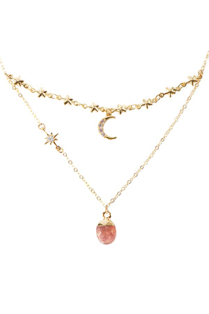Lady Stardust Necklace - Strawberry Quartz