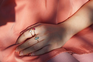 Anais Ring - Rainbow Moonstone