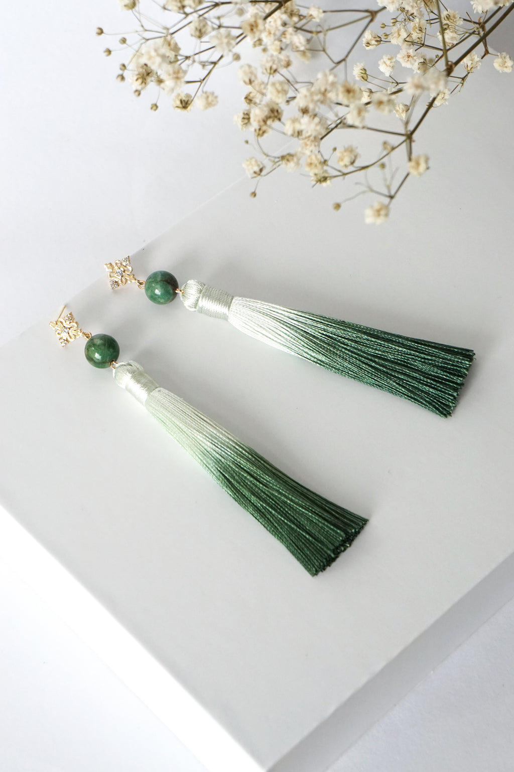 Chinoise Earrings - African Jade