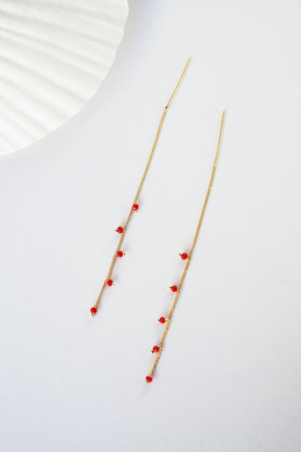 Wisteria Ear Threaders in Gold - Red