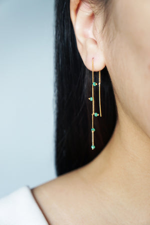 Wisteria Ear Threaders in Rose Gold - Green