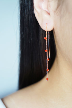 Wisteria Ear Threaders in Rose Gold - Red