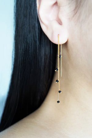 Wisteria Ear Threaders in Rose Gold - Black