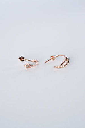 Celestial Ear Hoops in Rose Gold - Labradorite