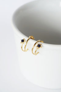 Celestial Ear Hoops in Gold - Blue Sandstone