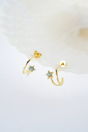 Celestial Ear Hoops in Gold - Amazonite