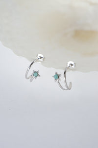 Celestial Ear Hoops in Silver - Amazonite