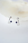 Celestial Ear Hoops in Silver - Blue Sandstone