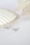 Celestial Ear Hoops in Silver - Moonstone