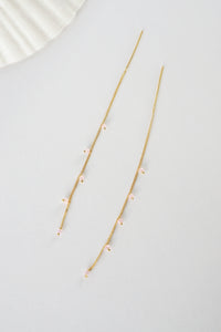 Wisteria Ear Threaders in Gold - Pink