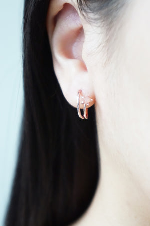 Celestial Ear Hoops in Rose Gold - Rose Quartz