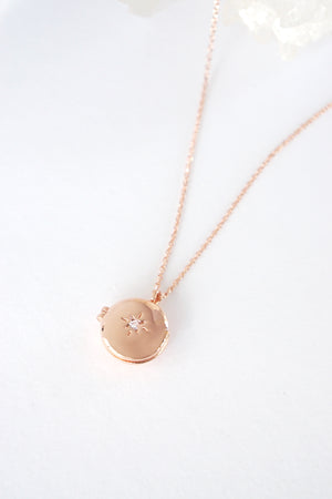 Wish Upon A Star Locket Necklace in Rose Gold