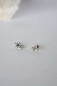 Stargaze Earrings in Silver - Amazonite