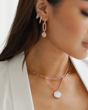 Jane Necklace in Rose Gold - Mother Of Pearl