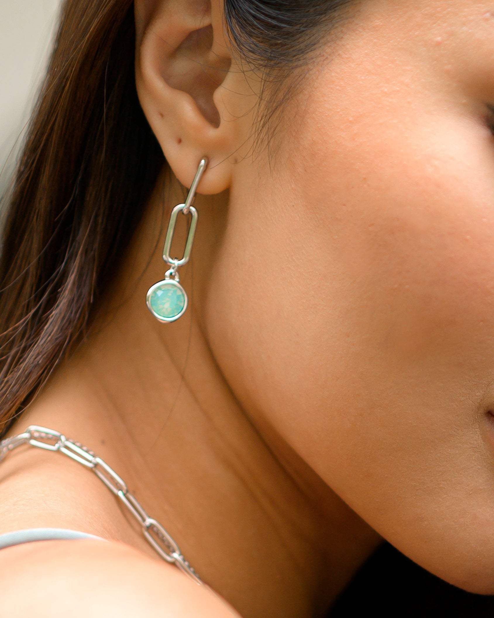 Edie Earrings in Silver - Pacific Opal