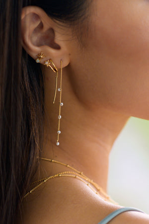 Wisteria Ear Threaders in Gold - Pearl