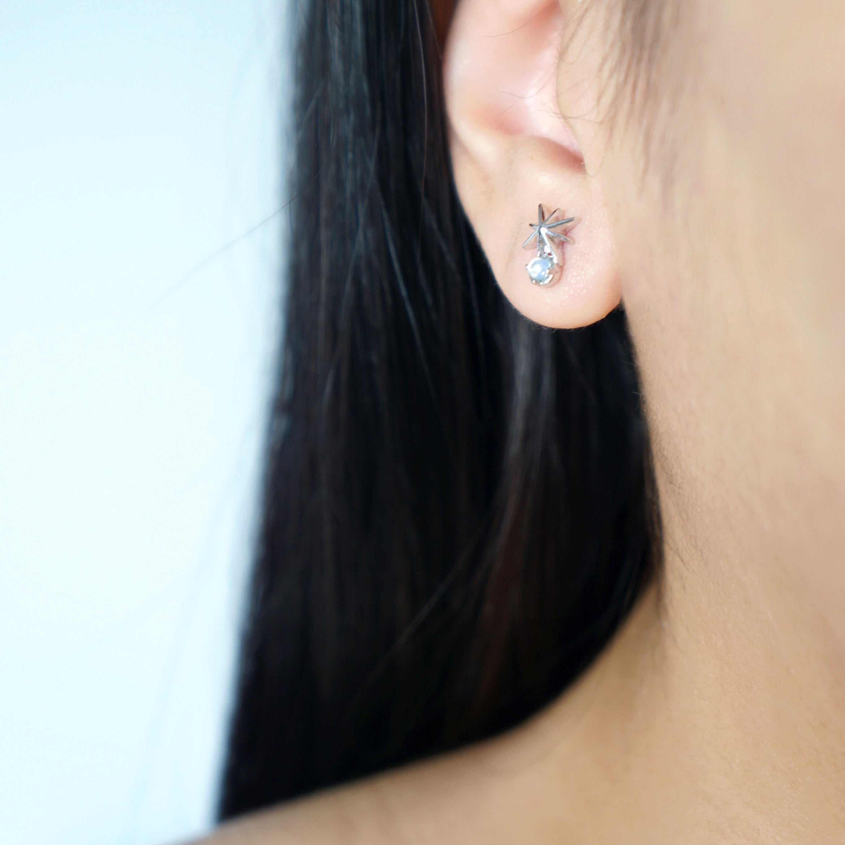 Stargaze Earrings in Silver - Moonstone