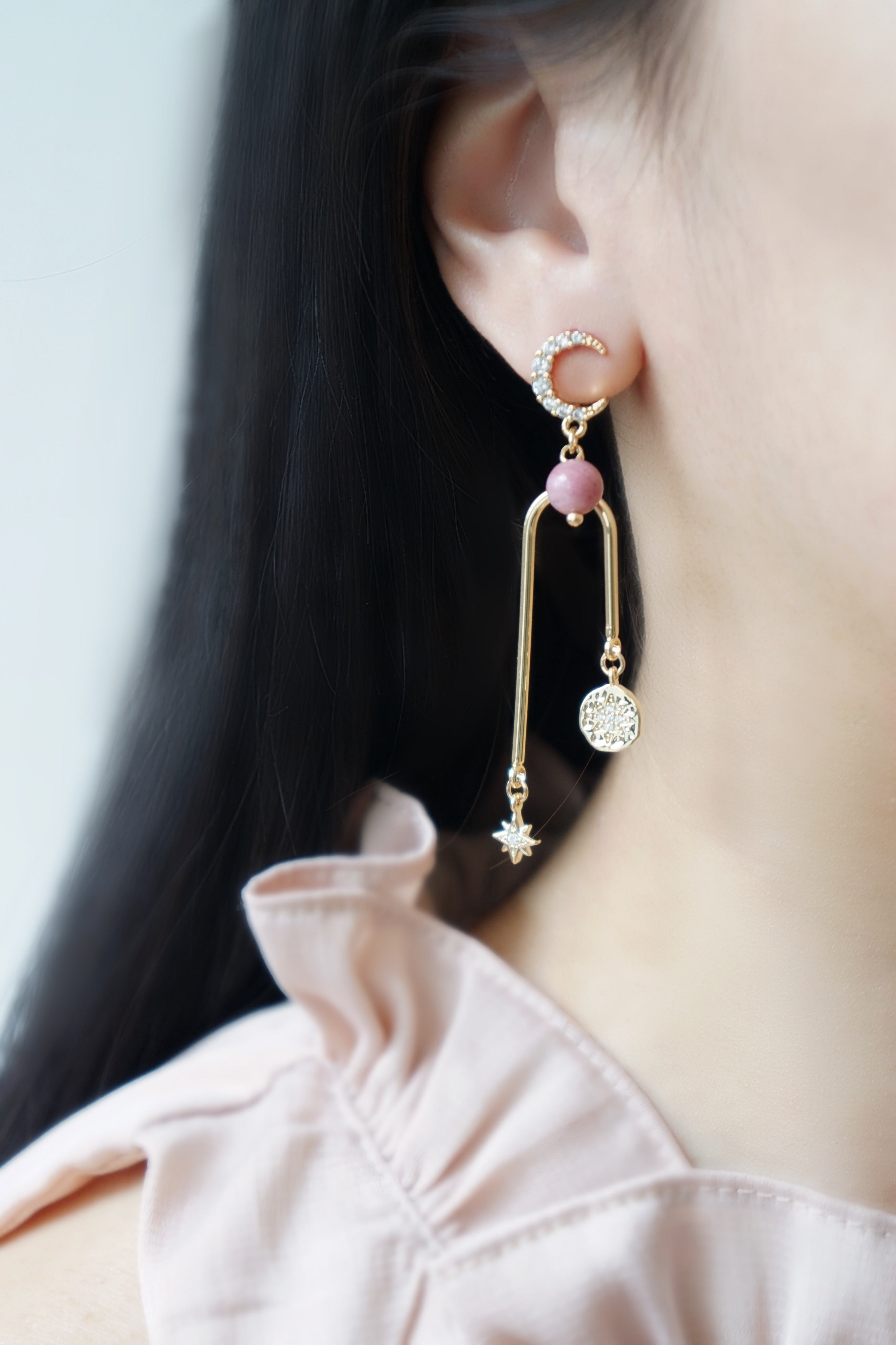 Written In The Stars Earrings - Rhodonite