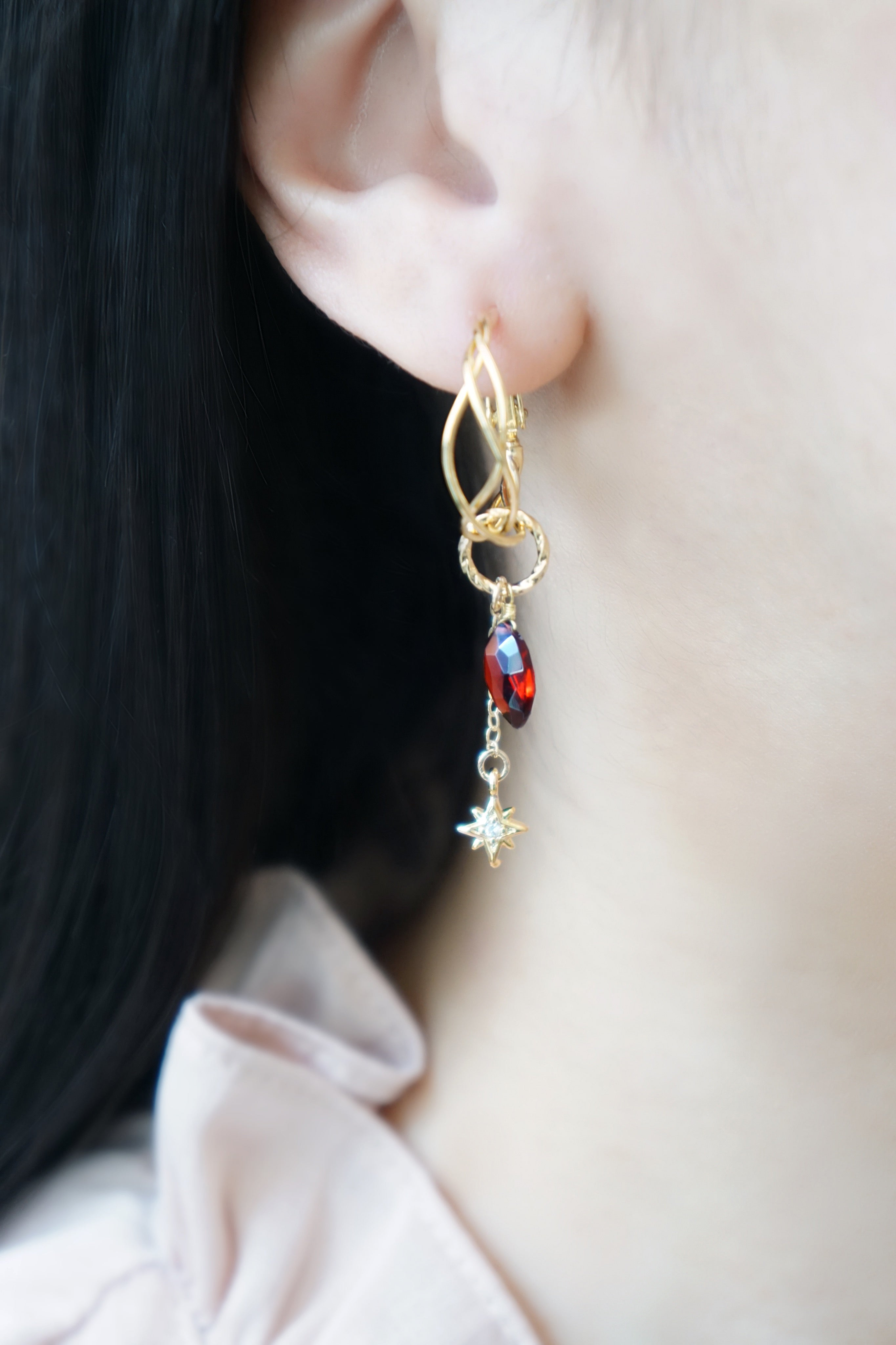 Enchant Earrings (Customisable) - Garnet