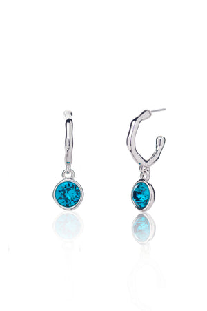 Twiggy Hoop Earrings in Silver - Indicolite