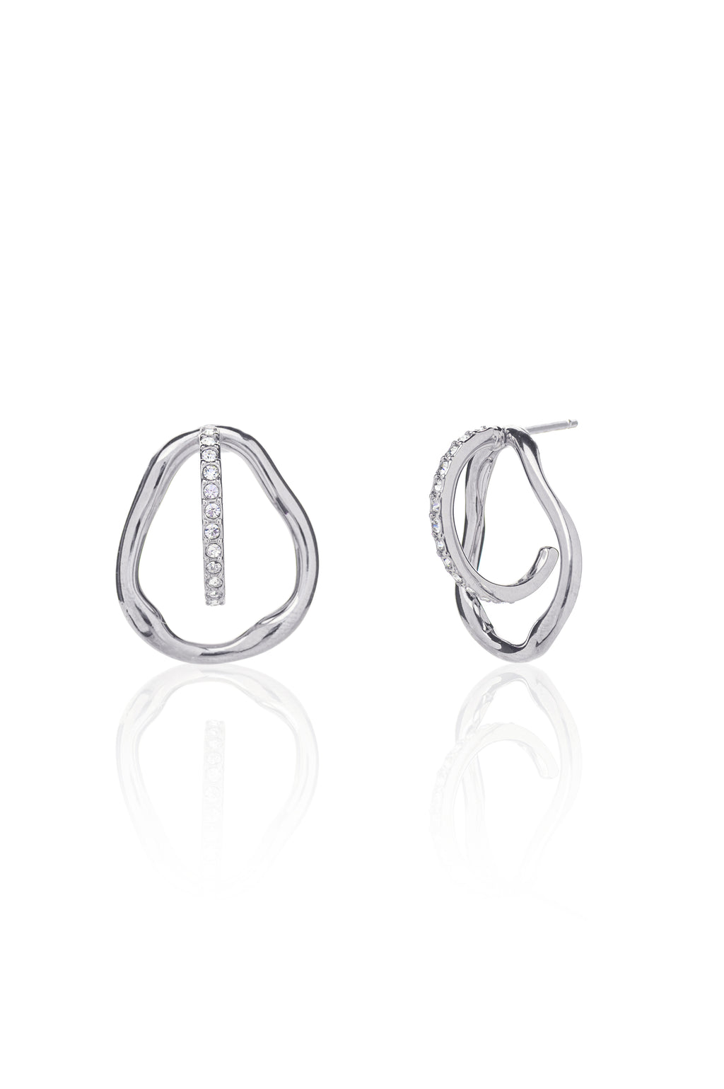 Georgia Three-way Pavé Earrings in Silver