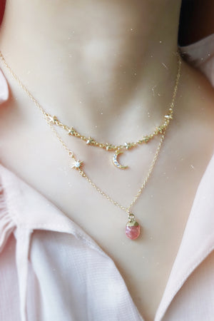 Lady Stardust Necklace - Rose Quartz