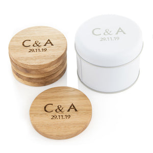 Personalised coasters and packaging