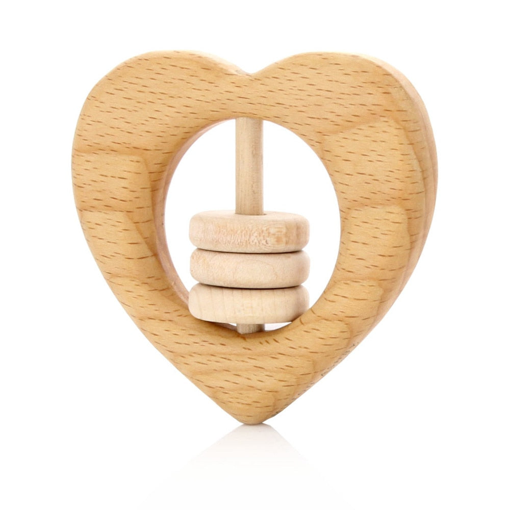 Heart rattle with natural beads