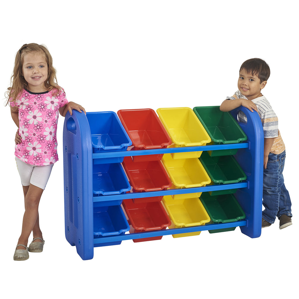 ECR4Kids 3Tier Toy Storage Organizer for Kids, Blue with 12 Assorted Color Bins Blue with Assorted Bins 3-Tier