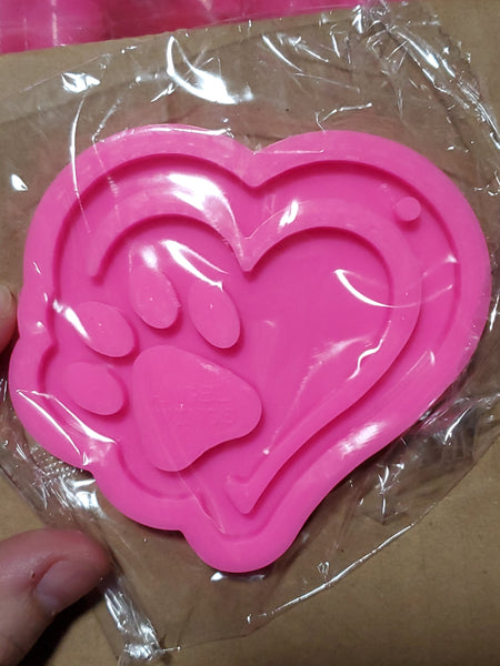 Paw Double Heart Keychain Mold