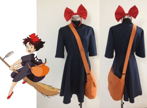 Kiki Delivery Service Cosplay Costume+Bag+Hairband